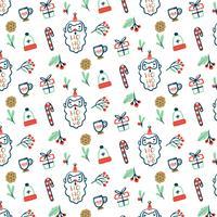 Pattern con Babbo Natale, regali, biscotti e bastoncino di zucchero vettore