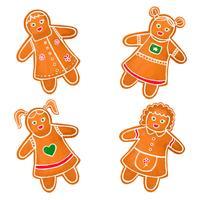 Collezione Cute Gingerbread Girls vettore