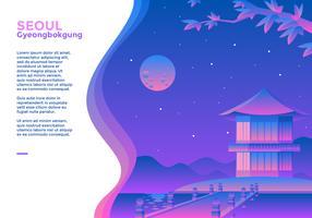 Gyeongbokgung Seoul Web Banner vettore