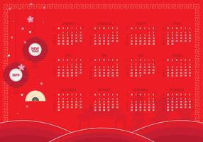2019 Calendario cinese del nuovo anno stampabile