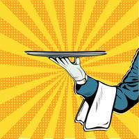 Vettore di Pop art di presentazione del vassoio della mano del cameriere retro