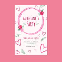 Modello di volantino di San Valentino rosa con foglie e cuore