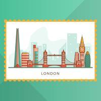 Città moderna piana di Londra con l'illustrazione di vettore del punto di riferimento