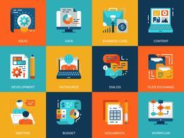 Set di icone di gestione del progetto vettore