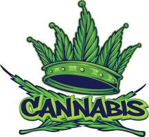 logo della corona di cannabis stile hip hop vettore