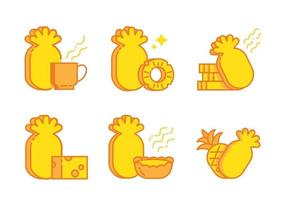 set di icone per crostata al formaggio con frutta all'ananas, bevanda calda, torta e formaggio vettore