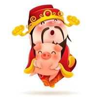 Chinese God of Wealth and Little Pig vettore