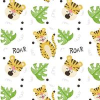 Cute Tiger Pattern With Exotic Leaves vettore