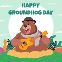 Ground Hog Day Card vettore