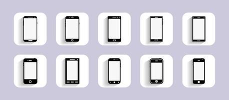 icone dei dispositivi mobili per la progettazione dell'interfaccia utente e il sito web. design piatto. illustrazione vettoriale