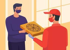 fattorino che dà la pizza al cliente alla porta di casa vettore