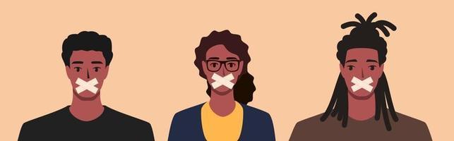 attivista, giornalista o rivoltosi afroamericani messi a tacere vettore