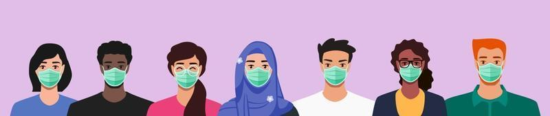 gruppo di persone etniche multiculturali che indossano la maschera facciale vettore