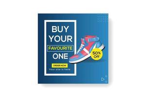modello di post banner social media prodotto di marca di scarpe di moda sportiva vettore