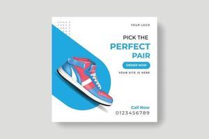 scarpe social media banner, modelli di post design vettore