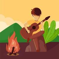 music around campfire vettore