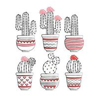 Vector Hand Drawn Cacti