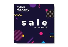 Cyber Monday Geometric Banner vettore