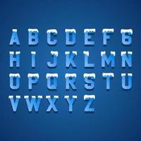 Ice Blue Letters Design Alphabet Elements vettore