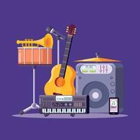 Music Instruments Knolling Illustration vettore