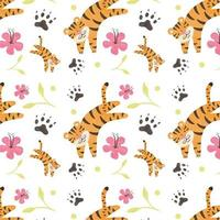 Cute Tiger Pattern With Flower And Leaves vettore