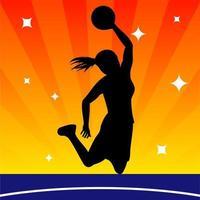 female basketball player silhouette vettore