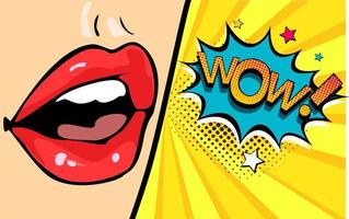Female mouth with speech bubble wow vettore