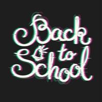 Back to School Card with Glitch Effect. vettore