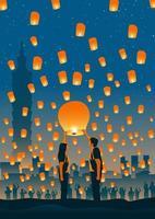 Taiwan Sky Lantern Moment vettore