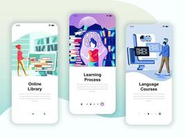 Set of onboarding screens user interface kit for Library vettore