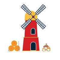 edificio tradizionale del mulino a vento con balla di fieno e sacchi con illustrazione vettoriale di design piatto in stile farina. elementi di scena per paesaggi in stile stecca