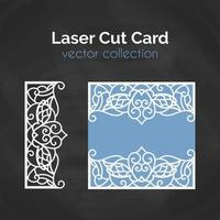 Laser Cut Card. Template For Cutting. Cutout Illustration. vettore