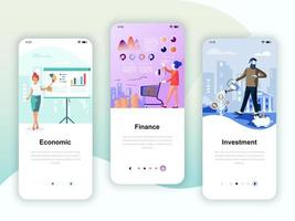 Set of onboarding screens user interface kit for Economics vettore