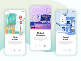 Set of onboarding screens user interface kit for Medicine vettore