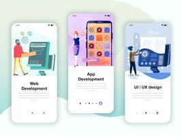 Set di kit di interfaccia utente per schermi onboarding per sviluppo Web e App vettore
