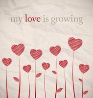 Crescere i cuori su carta stropicciata