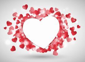 Cuore di San Valentino come carta davanti a cuoricini rossi vettore