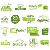 Adesivi e distintivi per alimenti e bevande biologici