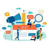 Aggiornamento di notizie, notizie in linea, giornale, illustrazione piana di vettore del sito Web di notizie