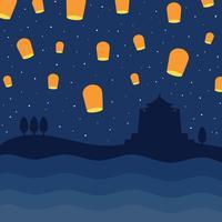 cielo taiwan pieno di lanterne vettore