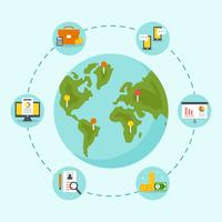 Commercio internazionale intorno al vettore di concetto del mondo