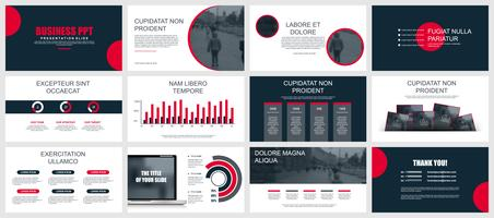 La presentazione aziendale fa scorrere i modelli dagli elementi infographic vettore