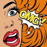 OMG la donna in stato di shock vettore