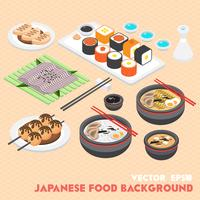 illustrazione del concetto di cibo grafico giapponese di informazioni vettore