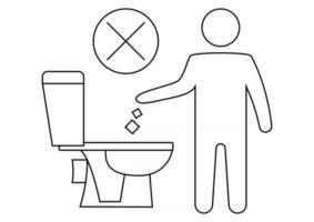 non gettare rifiuti nella toilette. mantenendo il segno pulito. la sagoma di un uomo, gettare immondizia in una toilette. icona proibita. nessun rifiuto, simbolo di avvertimento. informazione pubblica. tratto modificabile vettore