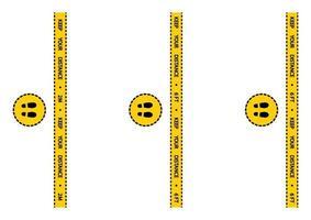 nastro di avvertenza sul distanziamento sociale. avviso coronavirus quarantena strisce gialle e nere. striscia di sicurezza per la marcatura del pavimento a distanza sociale. distanza in coda istruzioni di 2 metri o 6 piedi vettore