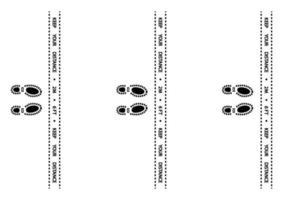 nastro di avvertenza sul distanziamento sociale. nastro di avvertimento. avvertendo strisce nere di quarantena del coronavirus. striscia di sicurezza per la marcatura del pavimento a distanza sociale. distanza in coda istruzioni di 2 metri o 6 piedi vettore