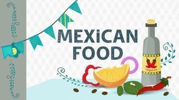 cibo messicano illustrazione per design piatto lettering titolo bottiglia di tequila con una fetta di lime cosparsa di sale vettore