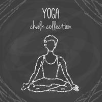 Illustrazioni di posa di yoga del gesso sulla lavagna