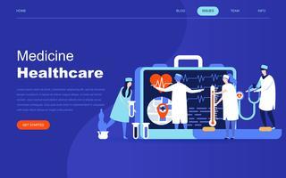 Moderno concetto di design piatto di medicina e assistenza sanitaria online